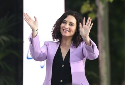 PP candidate Isabel Díaz Ayuso at a rally on April 30 in Móstoles (Madrid).