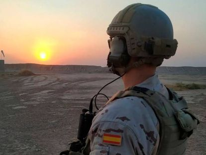 A Spanish soldier at the Gran Capitán base in Bismayah, Iraq.