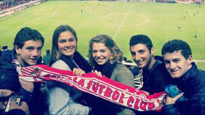 Chris Ulian (right) with friends at Sevilla's ground in 2014.