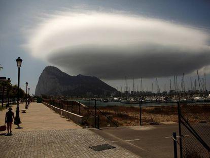 Gibraltar seen from the Spanish border.