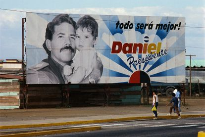 A campaign poster for Ortega's 1990 presidential re-election bid.