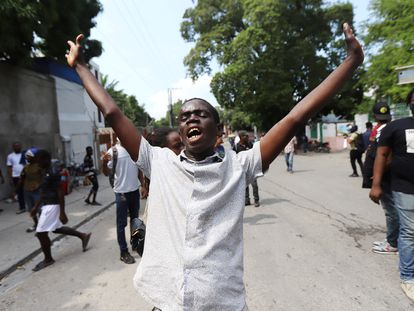 A demonstrator is injured during a nationwide strike to protest the security crisis in Haiti.