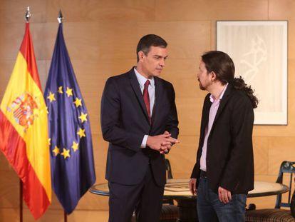 Acting Prime Minister Pedro Sánchez and Unidas Podemos leader Pablo Iglesias.