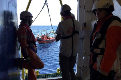 Rescuers on board the 'Geo Barents.'