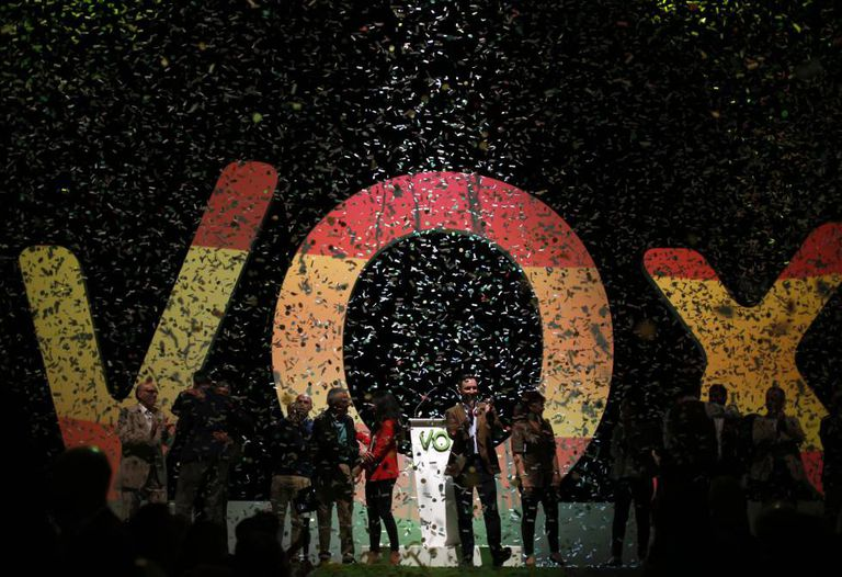 A vox rally led by party leader Santiago Abascal.