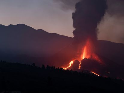 The erupting volcano on La Palma.