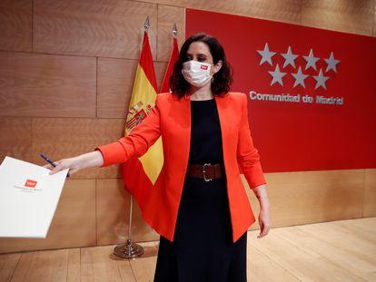 Madrid regional premier Isabel Díaz Ayuso of the conservative Popular Party.