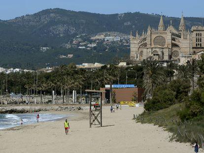 Palma beach in Mallorca on May 1.