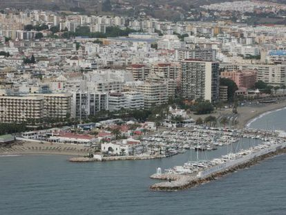 An aerial view of Marbella's famous harbor from 2007.
