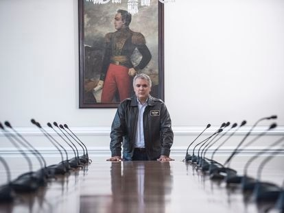 Colombian President Iván Duque during his interview with EL PAÍS earlier this month.