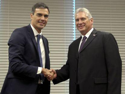 Pedro Sánchez and Cuban President Miguel Díaz-Canel in September.