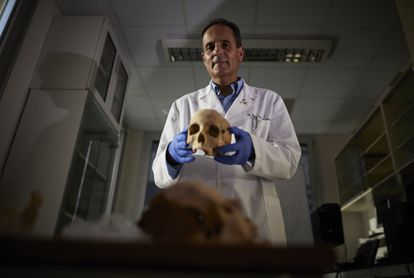 José Antonio Lorente holds up a skull said to belong to Christopher Columbus from skeletal remains from Guadalajara.