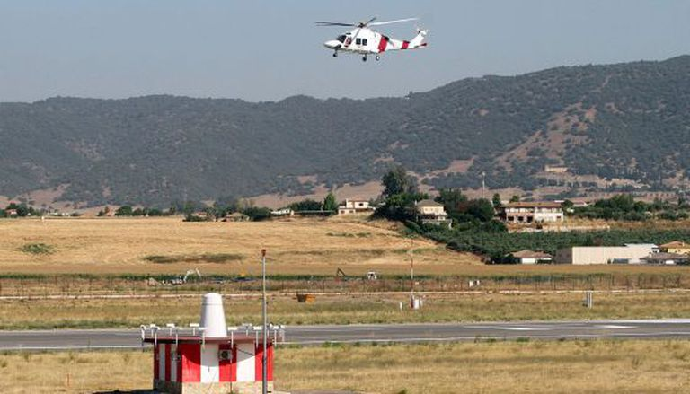 A helicopter takes off from Córdoba Airport.