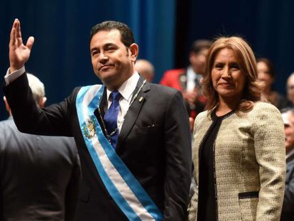 Guatemala's new President Jimmy Morales, with his wife Gilda Marroquín.