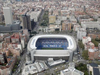 An aerial view of the Santiago Bernabéu stadium, home to Real Madrid.