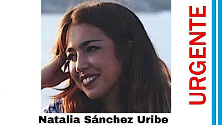 A tweet with the photo of missing student Natalia Sánchez Uribe.