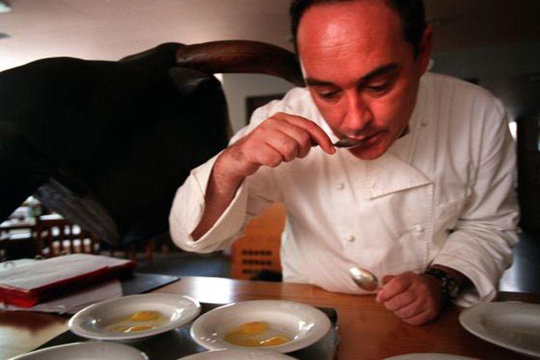 Ferran Adrià tasting his creations at El Bulli restaurant in Roses.