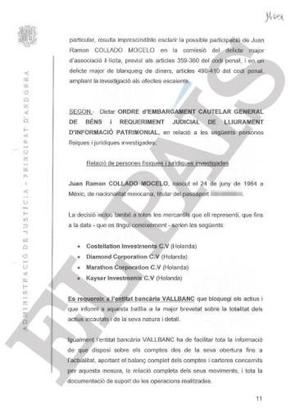 A page from the court document ordering a freeze on assets held in Andorra by Collado and companies under his control.