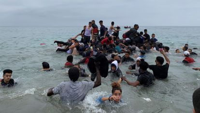 Migrants trying to reach Ceuta by sea on Tuesday.