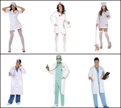 """Above, the top result for searches for """"Disfraz médico mujer"""" (Costume, doctor, woman); Below, results for """"Costumer, doctor, woman."""""""