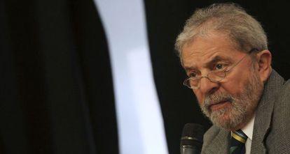 Former Brazilian president Lula da Silva during his press conference