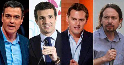 From l-r: Pedro Sánchez, Pablo Casado, Albert Rivera and Pablo Iglesias.