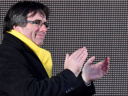 Former Catalan premier Carles Puigdemont during a demonstration in Brussels.