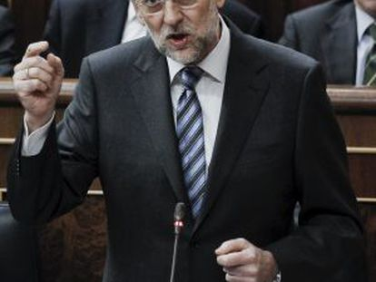 Prime MInister Mariano Rajoy, speaking in Congress today.