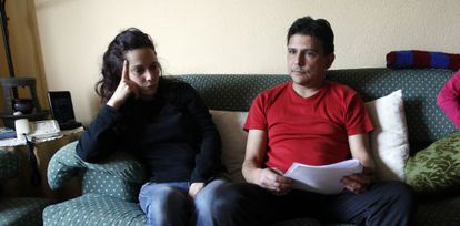 Carlos and Gema in their home in the south of Madrid.
