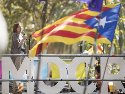 Speaker of the Catalan parliament, Carme Forcadell, during a protest at the regional High Court after arrests were made of those preparing the illegal referendum.