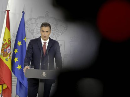 PM Pedro Sánchez at a press conference on Wednesday.
