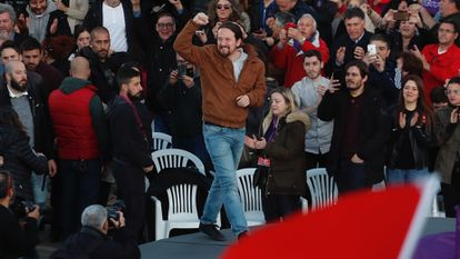 Podemos leader Pablo Iglesias at a party rally in 2019.