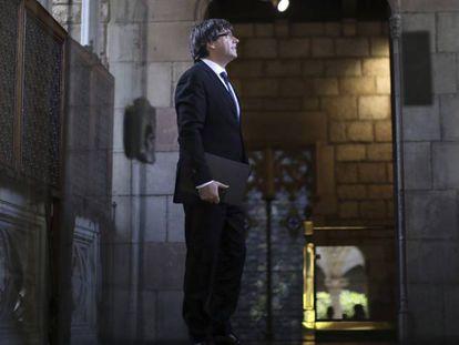 Carles Puigdemont at the Palau de la Generalitat de Catalunya this Tuesday.