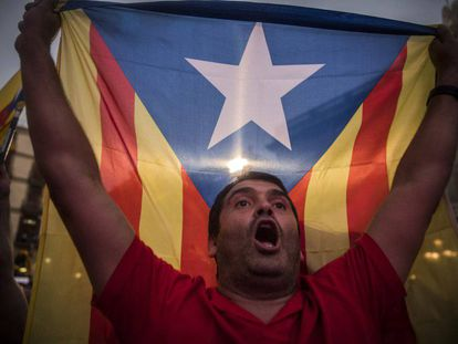 Protester in support of Catalan independence.
