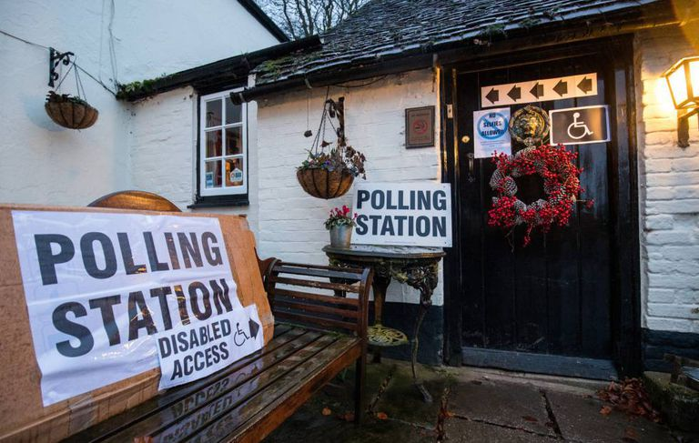 A polling station in Priors Dean, in the south of England.