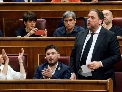 Oriol Junqueras is sworn in as a deputy today in Congress.