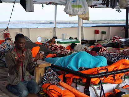 A migrant praying this morning on board the 'Open Arms' NGO rescue ship.