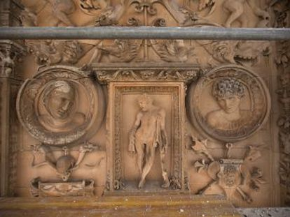 Damage caused by rain, wind and pigeons has complicated restoration of iconic building