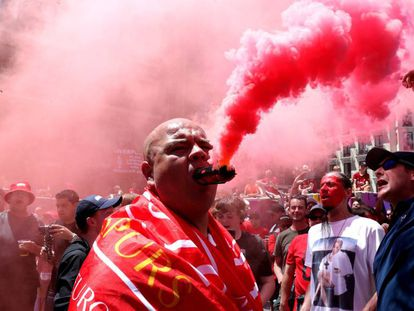 Liverpool fans in Madrid on Saturday.