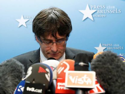 The former Catalan regional premier Carles Puigdemont in Brussels.