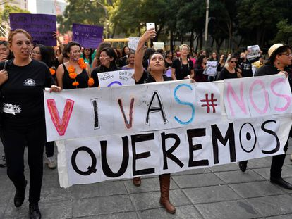 A 2016 march against femicide in Mexico City.