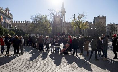 Tourists in Seville in January.