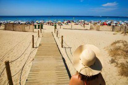 The hotel area at Son Bou beach, in Menorca.