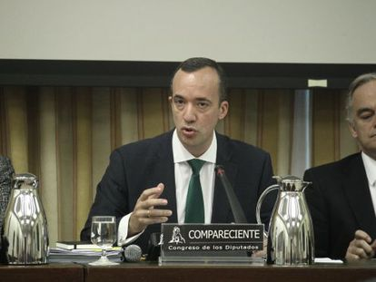 Francisco Martínez, the number two official at the Interior Ministry, explains the events of February 6 in Congress on Wednesday.