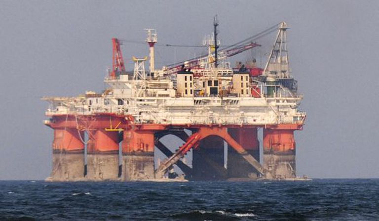 A Pemex oil rig in the Gulf of Mexico.