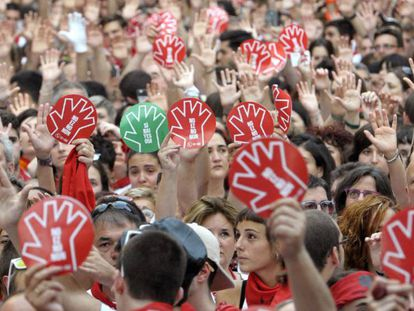 A protest in Pamplona against sexual assaults during Sanfermines.