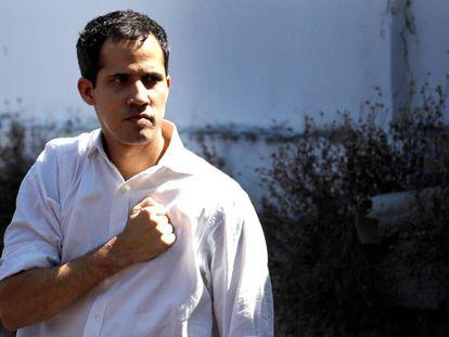 Juan Guaidó at a public appearance in La Guaira.