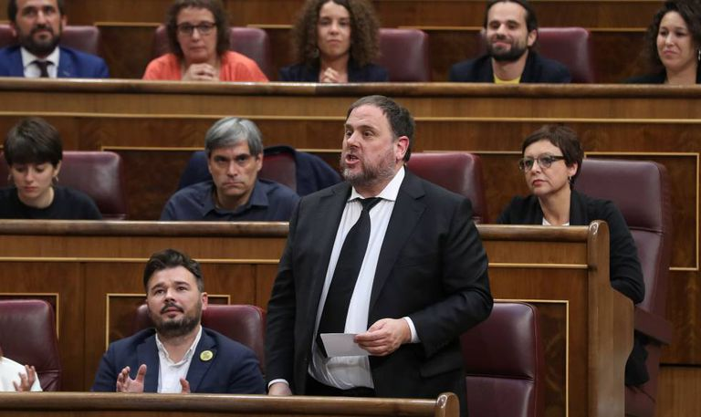 Jailed defendant Oriol Junqueras in Congress earlier this month, where he was sworn in as a deputy.