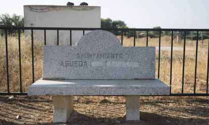 A bench shows how the village's former name, Agueda del caudillo, has been changed to just Agueda.