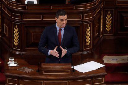 Primer Minister Pedro Sánchez addresses Congress on Wednesday.